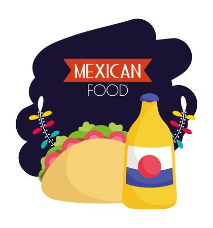 taco and soda floral mexican food, traditional celebration design vector illustration