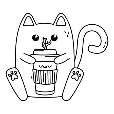 Cat cartoon design, Kawaii expression cute character funny and emoticon theme Vector illustration Çizim