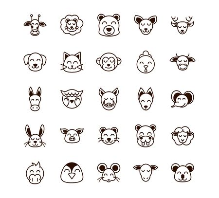 cute face animals cartoon icon on white background thick line