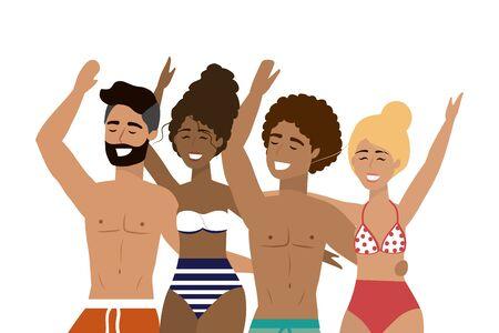 Boys and girls with summer swimwear design