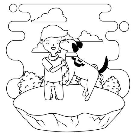 Boy with dog cartoon design, Mascot pet animal nature cute and puppy theme Vector illustration Stock Vector - 134856017