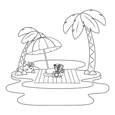 summer vacation beach objects cartoon Foto de archivo - 134858407