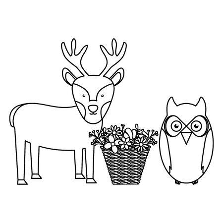 owl bird and reindeer with basket of flowers bohemian style Иллюстрация