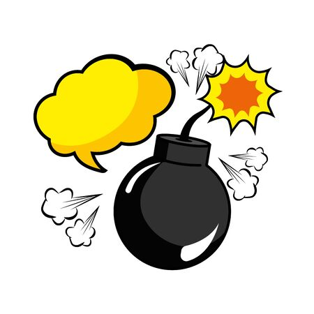 Pop art explosive bomb cartoon Иллюстрация