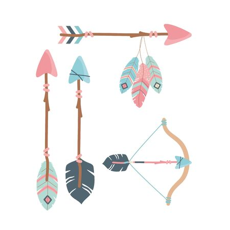 arch with arrows and feathers decoration boho style vector illustration design