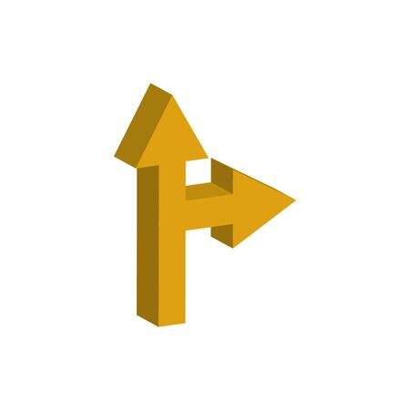 arrows intersection 3d style icon vector illustration design