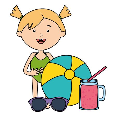 cute little girl with juice drink and balloon beach vector illustration design