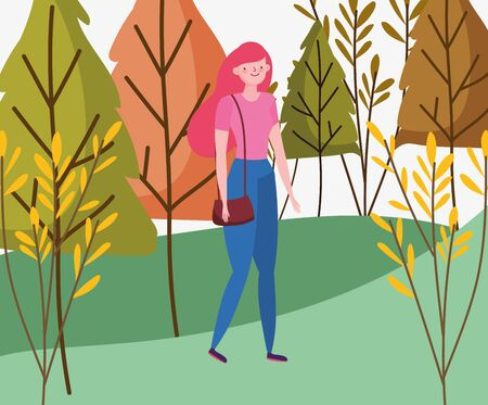 Woman cartoon in autumn design, season nature ornament garden decoration and botany theme Vector illustration