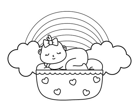 baby sleeping in a cradle in black and white Ilustração
