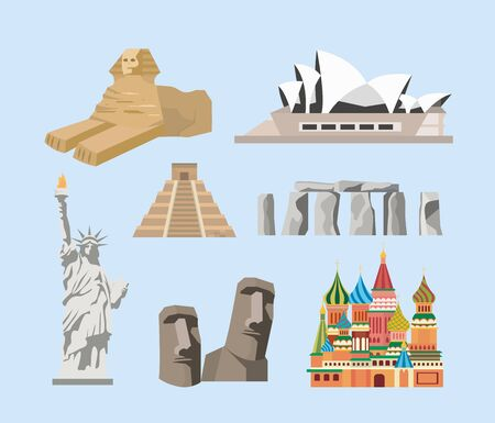 set of traditional sculpture and travel vacacion destination vector illustration