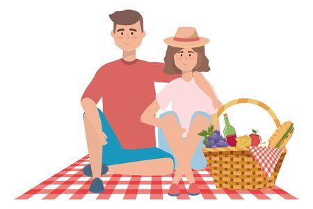 Couple of woman and man having picnic design  イラスト・ベクター素材