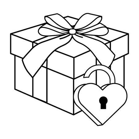 Pop art gift box cartoon in black and white Illusztráció