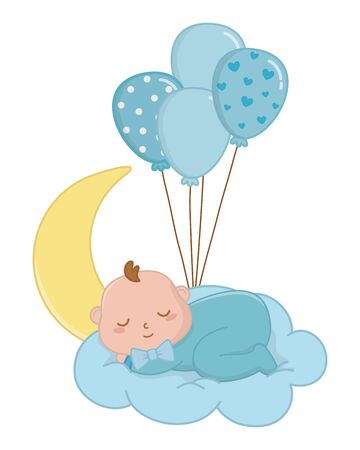 baby sleeping over a cloud with moon hanging from a balloons vector illustration graphic design Ilustração