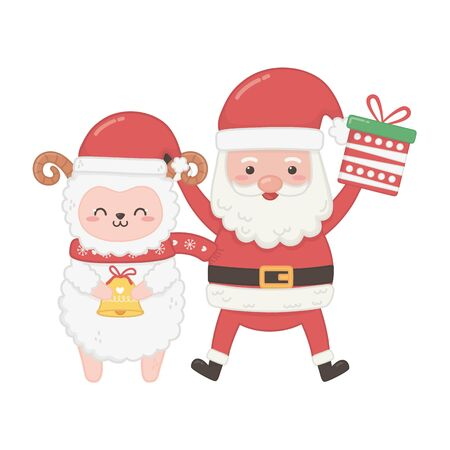 cute santa with gift and sheep hoding bell merry christmas vector illustration