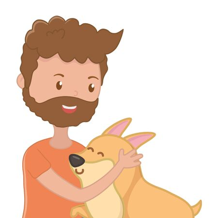 Boy with dog cartoon design, Mascot pet animal nature cute and puppy theme Vector illustration Stock Vector - 134857374