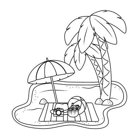 summer vacation beach objects cartoon Foto de archivo - 134858469