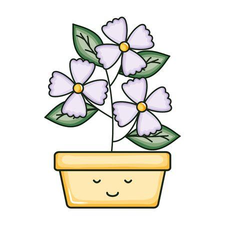 flowers in square ceramic pot kawaii character vector illustration design Ilustracja