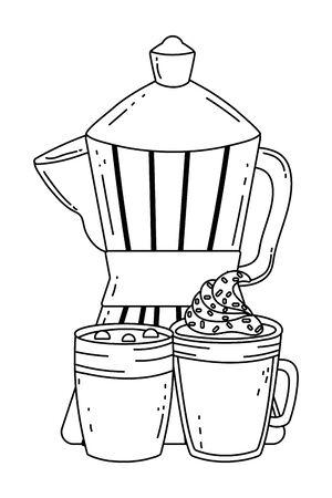 Coffee maker and glass design, Drink breakfast beverage bakery restaurant and shop theme Vector illustration Illustration