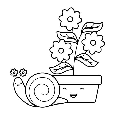 garden flowers plant in pot with snail style Ilustracja