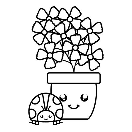 garden flowers plant in pot with ladybug kawaii style vector illustration design