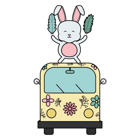 cute rabbit in van hippie boho style vector illustration design