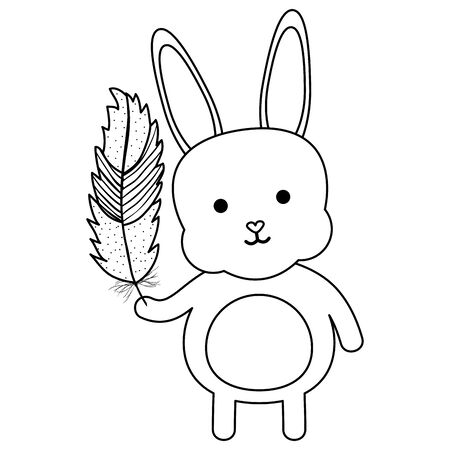 cute little rabbit lifting feather character Ilustracja
