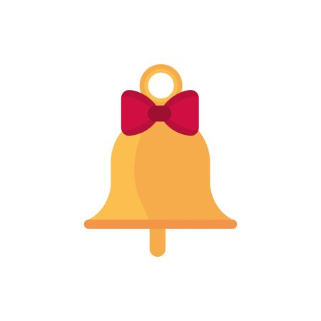 gold bell with bow decoration happy christmas icon vector illustration Illusztráció