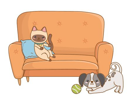 Cat and dog cartoon design vector illustration Stock Vector - 134858427