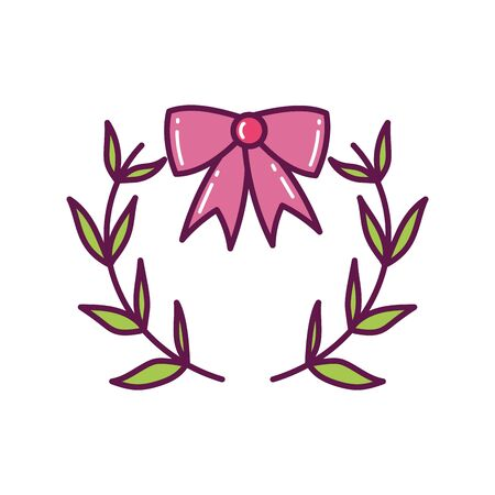 bow with branches decoration merry christmas icon Ilustracja