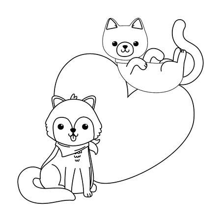 Conception de dessin animé chat et chien isolé