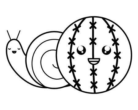 exotic cactu with snail kawaii character