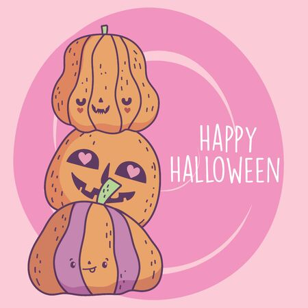 happy halloween celebration pile scary pumpkins