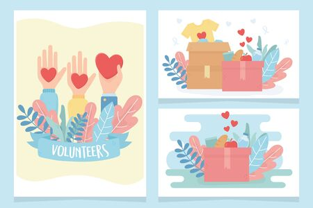 volunteering, help charity volunteers hands love heart clothes food cards vector illustration