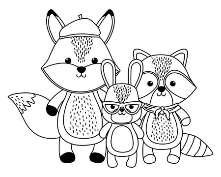 Fox rabbit and raccoon cartoon design, Animal cute zoo life nature and fauna theme Vector illustration