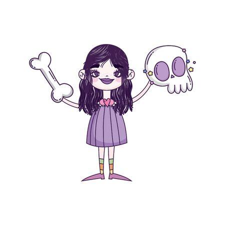 happy halloween celebration girl with skull and bone vector illustration