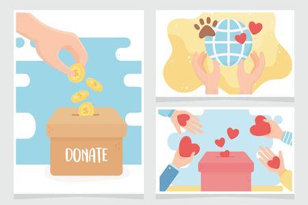volunteering, help charity donate love protection care animal world cards vector illustration Reklamní fotografie - 134864189
