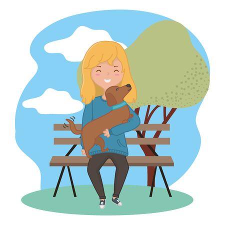 Girl with dog cartoon design Stockfoto - 134872838
