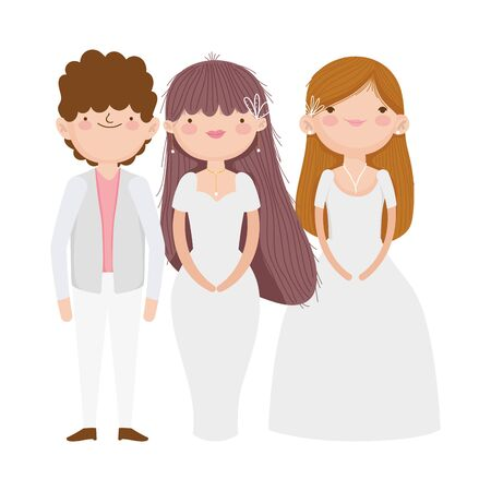 wedding groom and brides elegant dress and suit cartoon vector illustration