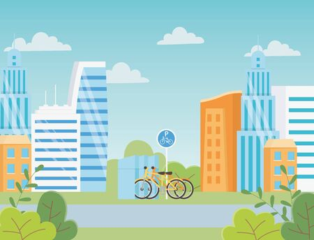 urban ecology parking bicycles transport road city buildings vector illustration