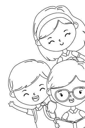 Boy and girls kids design, School education learning knowledge study and class theme Vector illustration 向量圖像