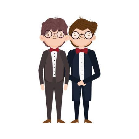 wedding groom men character cartoon vector illustration