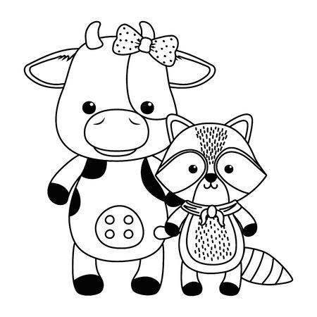 Cow and raccoon cartoon design, Animal cute zoo life nature and fauna theme Vector illustration Illusztráció