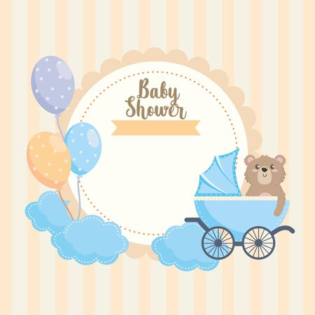 label of teddy bear with carriage and balloons decoration Foto de archivo - 134873312