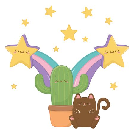 Cat with cactus cartoon design, Kawaii expression cute character funny and emoticon theme Vector illustration