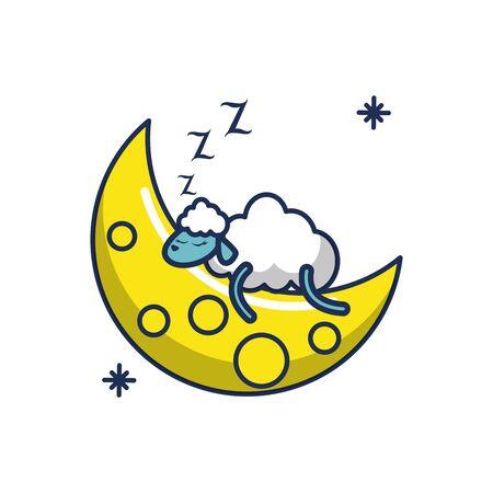 sleeping sheep moon line and fill image