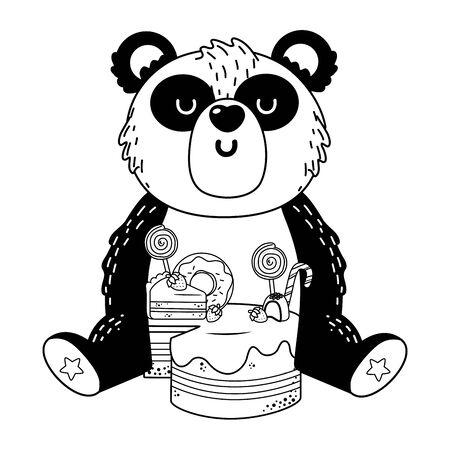 Panda cartoon with sweet food design, Animal cute zoo life nature and fauna theme Vector illustration