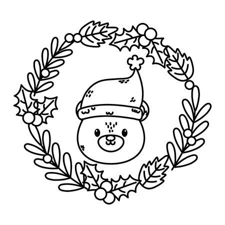 polar bear wreath holly berry celebration merry christmas thick line