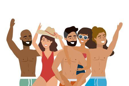 Boys and girls with summer swimwear design Standard-Bild - 134873457