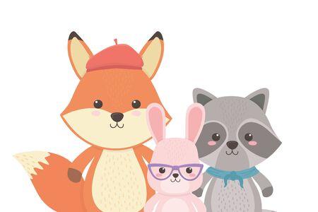 Fox raccoon and rabbit cartoon design Illusztráció