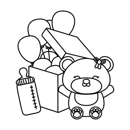 toy bear with feeding bottle and round shaped balloon into a box black and white vector illustration graphic design Illusztráció